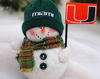 Miami Hurricanes Snowman Ornament