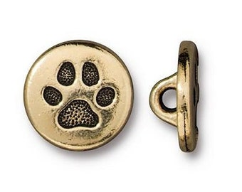 3 TierraCast Tiny Cat Paw 7/16 inch ( 12 mm ) Gold Plated Pewter Buttons