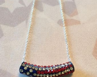 Patriotic Necklace - Patriotic Jewelry - American Flag Necklace - USA Necklace - American Flag Jewelry - USA Jewelry - Red White Blue - Gift