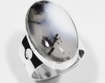 Sterling Silver Dendritic Opal Ring, Silver Ring, Opal Ring, Dendritic Opal Ring, Dendritic,Oval,Designer .925 Sterling Silver Ring Size 6.5