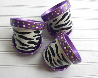 Zebra Print - Flower Pots - Painted Flower Pots - Succulent Planters - Herb Pots