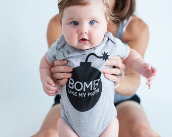 Baby Gift. Infant Clothing. Toddler Clothing. Toddler t shirt. Bomb like my Mom Gray One Piece