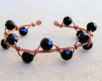 Copper Wire Wrapped Black Beaded Cuff Bracelet By Distinctly Daisy