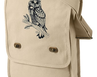 Sage Owl Embroidered Canvas Field Bag