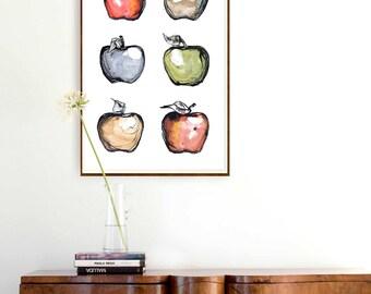 Apples poster- Glicee print, large apples print, modern apple print, fruit art, minimalist fruit art print,  kitchen wall art decor, apples