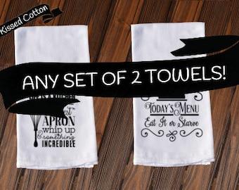 Set of 2 Funny Dish Towels , Funny Tea Towels , New Home Housewarming Gift , Housewarming, Kitchen Decore, Custom Tea Towel