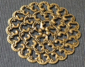 20 pcs of Antiqued brass filigree sheets 35X35mm