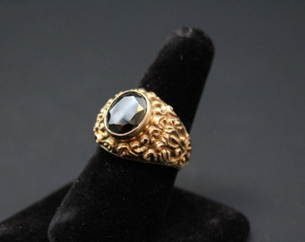 12K Ornate Yellow Gold Faceted Hematite Mens Band Ring