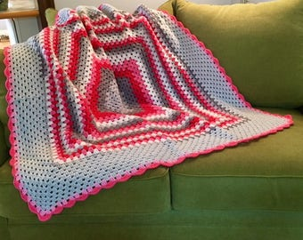 Colorful Pink Gray White Granny Square Handmade Crocheted Afghan Throw Blanket