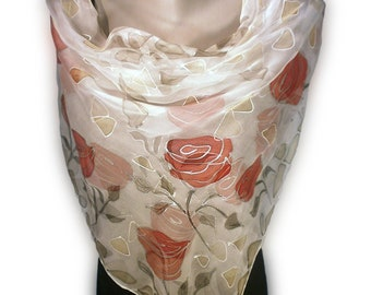 ROSE MORNING Hand-Painted Silk Scarf, Woman Silk Scarf, Pure Silk Shawl, Wrap, Scarf painted by hand