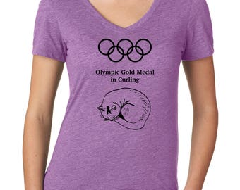 Olympic Gold Medal Curling Shirt, Olympics Shirt for Her, Cat Shirt, Sports Shirt