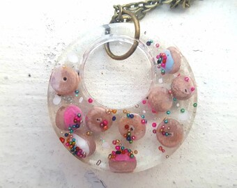 Tiny Donuts Resin Pendant