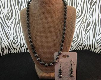 Gray & Black Pearl Necklace/Earrings Set