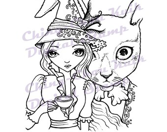 Mad Tea Party - Instant Download / Animal Rabbit Bunny Alice In Wonderland Witch Fantasy Fairy Girl Art by Ching-Chou Kuik