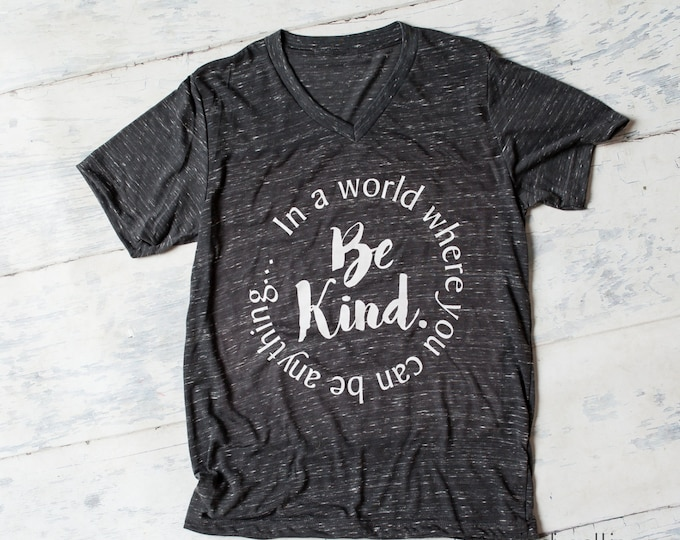 In a world where you can be anything.....be kind! v-neck shirt