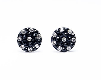 Black dot Earrings fake-plugs black fake-plug fakeplugs earrings fake Piercing crystall