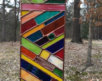 Vertical Tectonic Stained Glass Sun Catcher