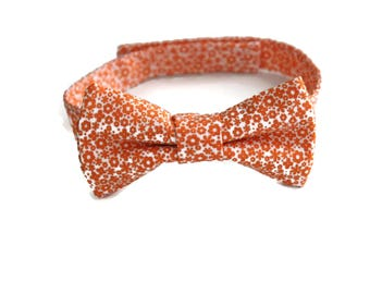 Orange floral bow tie for boys, youth, toddlers, mens. Ring bearer bow ties. Orange wedding
