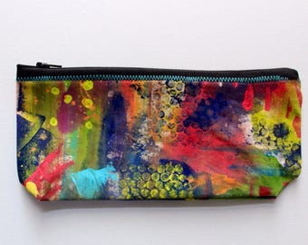 Canvas Zip Pouch - hand painted pencil make up bag ZPG11