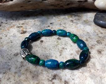 Chrysocolla Dot Dash Stretch Buddha Bracelet Yoga Healing Jewellery