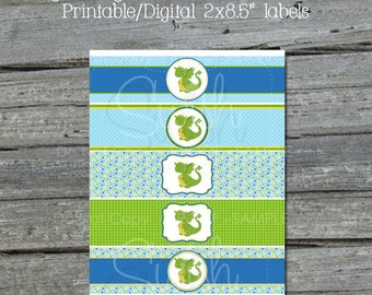 Baby Dragon Water Bottle Labels | Water Bottle Wraps | Blue Green | First Birthday | Digital Download | INSTANT DOWNLOAD