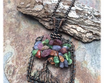 Fairy Size Tree of Life Mixed Gemstone Handmade Pendant Necklace, Antiqued Copper, Wire Tree Jewelry, Wire Wrapped