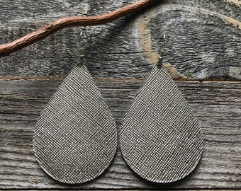 Pewter Saffiano Leather Earrings