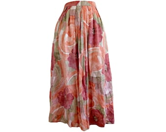 Vintage Midi Skirt 80s Full Floral Pleated High Waist Pastel Peach Pink Midiskirt Size Medium