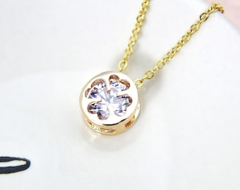 Dainty Necklace, Gold Clover Necklace, CZ Diamond Necklace, Gift Mom, Gold Violet Clover Charm, Gift Mom Coworker Sister Girlfriend , G02