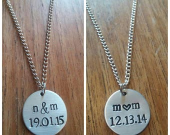Personalised Customised Anniversary Date & Couples Initials Round Pendant Necklace ~ Silver Handmade Hand Stamped Jewellery Jewelry Gift