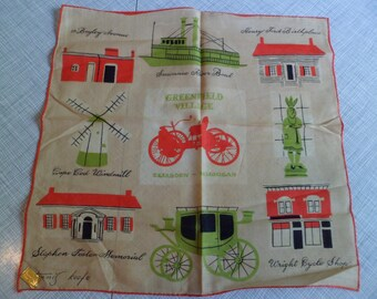 Vintage Tammis Keefe Handkerchief~ Greenfield Village Dearborn Michigan~Foil Label Kimball