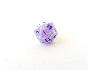 Individually cast clear resin D20 dice ring with white and lavender glitter
