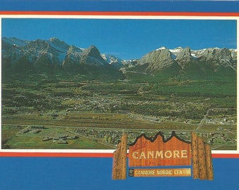 Vintage 1990s Postcard Canmore Alberta Canada Nordic Centre Olympic Athlete Training Facility Rocky Mountains Photochrome Postally Unused