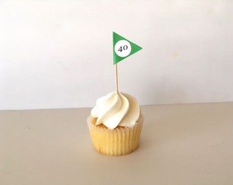 Golf Flag Cupcake Toppers, golf lover party decor, decorated toothpicks, golf theme party, retirement party, wedding toppers, fathers day