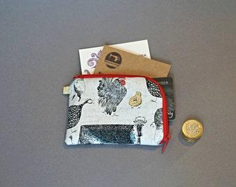 Farm Animals Coin Purse - Cattle Coin Purse - Chicks Coin Purse - Hens Little Zipper Pouch