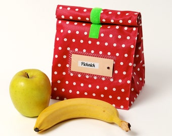 Lunch bag, bread bag, red, coated cotton