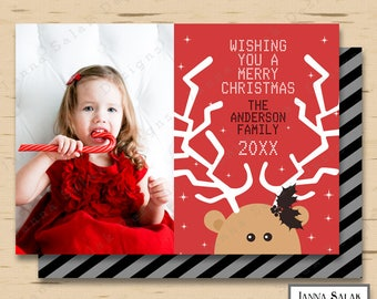 Cute Reindeer Christmas Photo Card Holiday Photo Cards Printable DIGITAL FILE