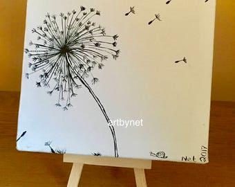 DANDELION painting, dandelion art, watercolour dandelion, perfect gift, 15cm x 15cm painting, original watercolour painting, home decor