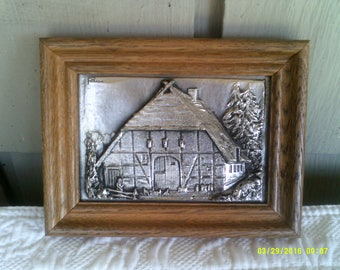 Vintage Zinn Relief Raised Pewter Wall Plaque, Pewter German Chalet, Betzner Relief Pewter, Raised Pewter Picture