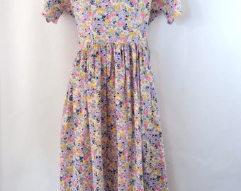 1950s/1960s  Pink, Purple, Yellow, Blue and Gray Floral Print Dress