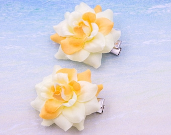 2 Yellow Flower Hair Clips, 2 inch, Fabric   Flower Hair Clip,   Metal Clip, One Pair