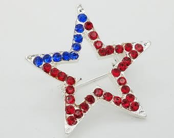 Old Stock Rhinstonel Red, White & Blue Star Pin
