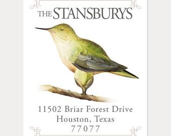 Set of 100 Custom Return Address Labels. Hummingbird address label. Return address label. Self-adhesive address label. Address sticker.