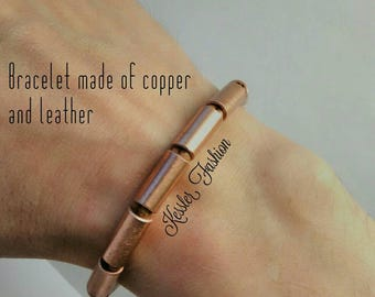 Bracelet   unisex   made of copper and leather