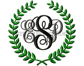 9 Sizes - Machine Embroidery Laurel Frame Design Monogram Frame Designs Leaf Monogram Design