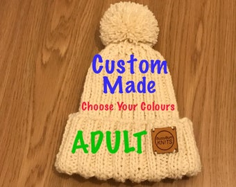 Winter Warmer Bobble Hat (ADULT). Request your own colour.