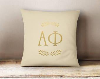 Alpha Phi Letters Foil Pillow Choose Your Pillow Color
