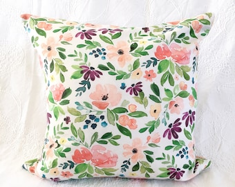 Floral Watercolor Pillow Cover 20x20 inches