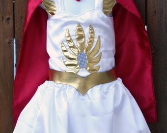 Shera Costume, Girl Halloween Costume, Gold Head Dress, White Gold Costume, Little Princess of Power, Cosplay Shera, Halloween Cape