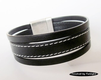 Leather Wrap Bracelet - Black Stitched Goat Leather & Black Mexican Flat Leather - Magnetic Clasp